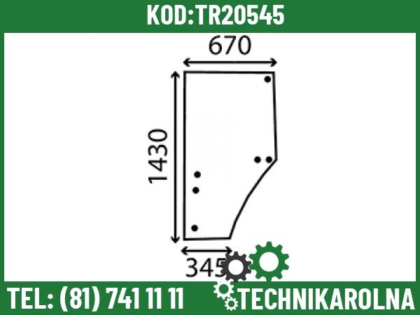 L169102 Szyba drzwi lewa profilowana 6 otworow barwiona