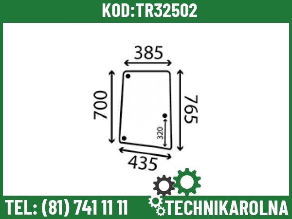 L113305 Szyba boczna otwierana prawa profilowana 3 otwory barwiona