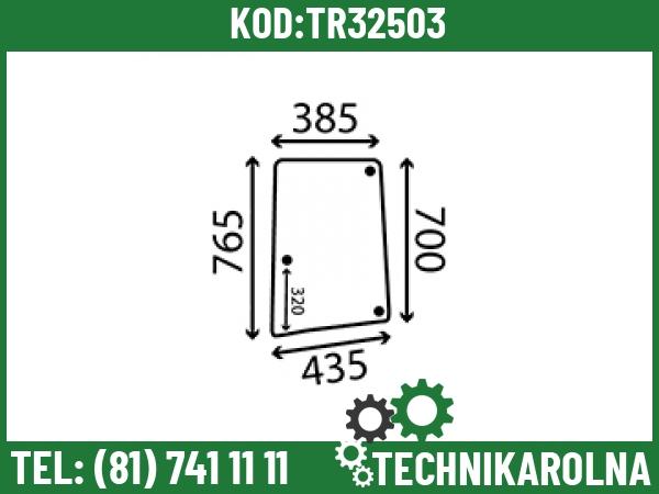 L113306 Szyba boczna otwierana lewa profilowana 3 otwory barwiona